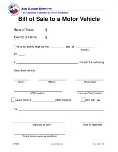 texas vehicle bill of sale