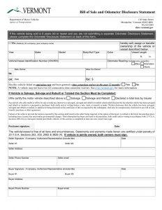 vermont vehicle bill of sale
