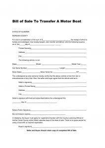 alabama boat bill of sale form