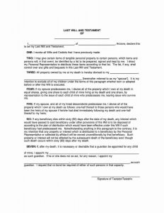 arizona last will and testament form