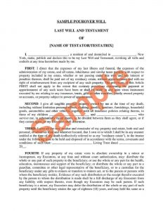 new york last will and testament form