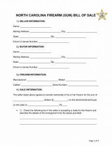 north carolina firearm bill of sale form