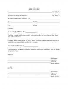 texas motorcycle bill of sale form