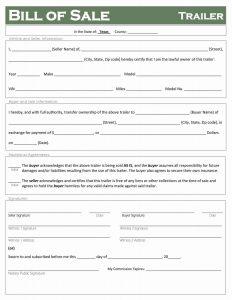 texas trailer bill of sale form