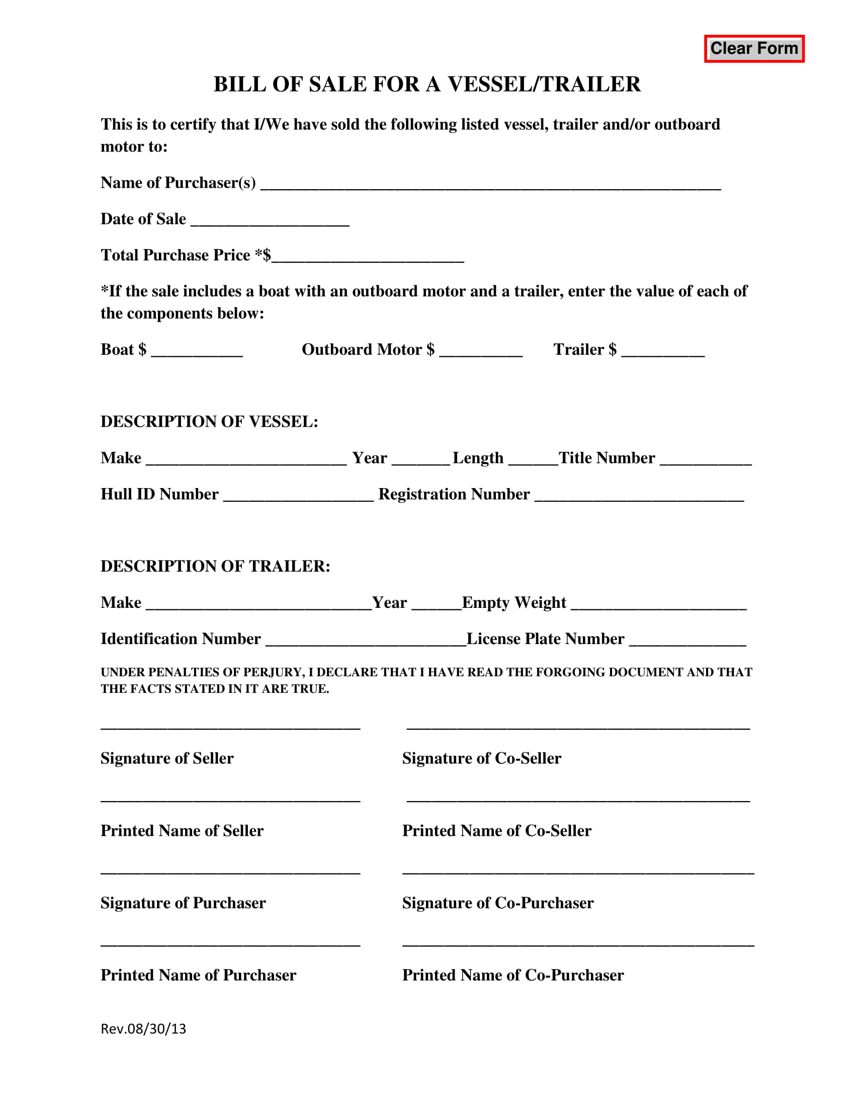 Free Trailer Bill Of Sale Template Fillable Forms Texas trailer bill of sale