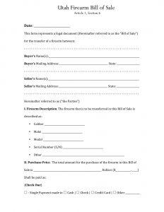 utah firearm bill of sale form
