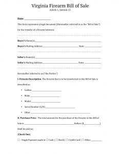 virginia firearm bill of sale form
