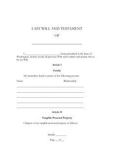 washington last will and testament form